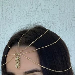Delicate Hair Chain Crown w Beads and Leaf Charms